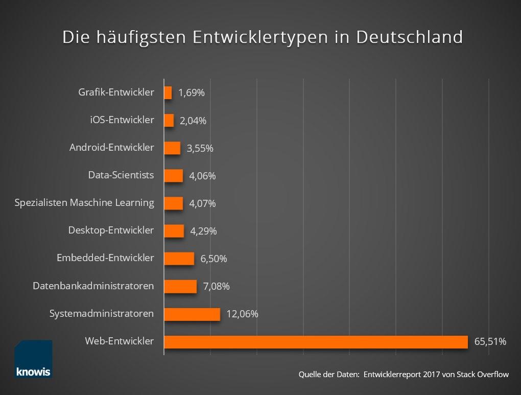 Infografik: Webentwickler/Entwicklertypen in Deutschland